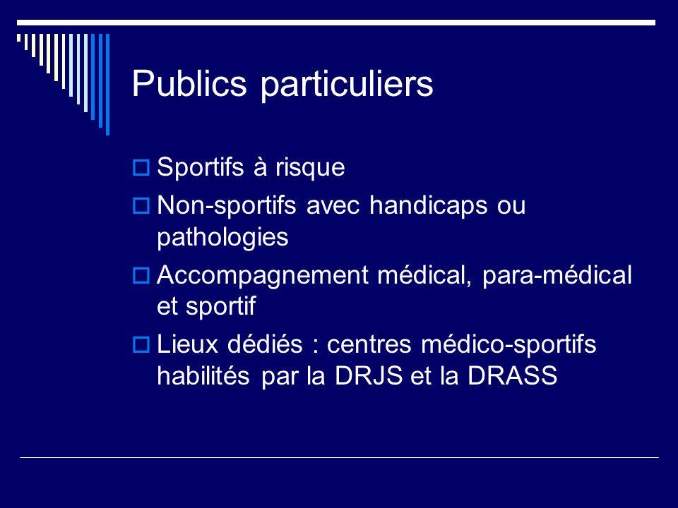 Publics particuliers Sportifs à risque Non-sportifs avec handicaps ou pathologies Accompagnement médical, para-médical et sportif Lieux dédiés : centres médico-sportifs habilités par la DRJS et la DRASS