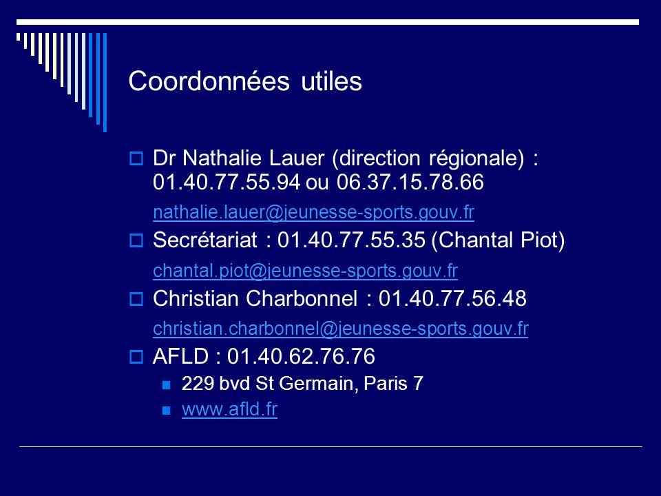 Coordonnées utiles Dr Nathalie Lauer (direction régionale) : 01.40.77.55.94 ou 06.