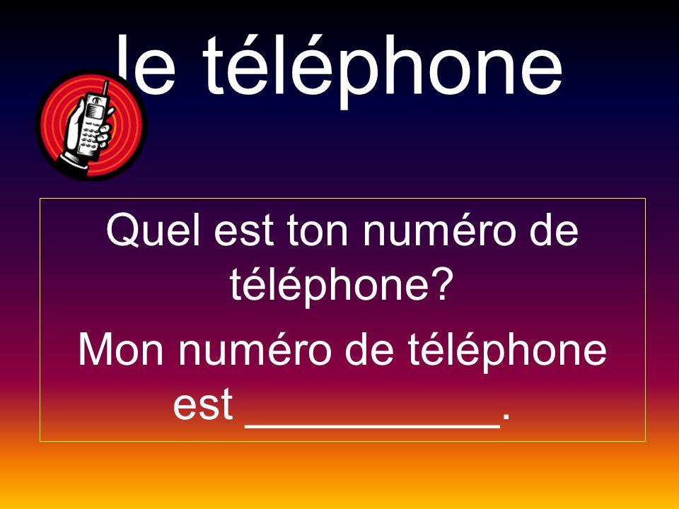 le téléphone Quel est ton numéro de téléphone? Mon numéro de téléphone est __________.