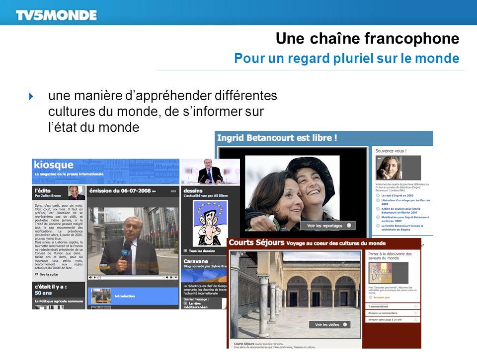 Une chaîne francophone Pour un regard pluriel sur le monde une manière dappréhender différentes cultures du monde, de sinformer sur létat du monde