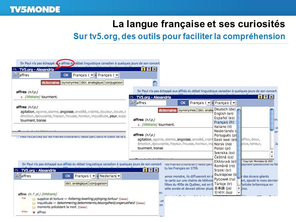 La langue française et ses curiosités Sur tv5.org, des outils pour faciliter la compréhension