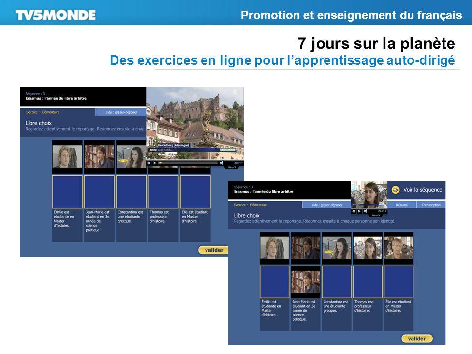7 jours sur la planète Des exercices en ligne pour lapprentissage auto-dirigé Promotion et enseignement du français