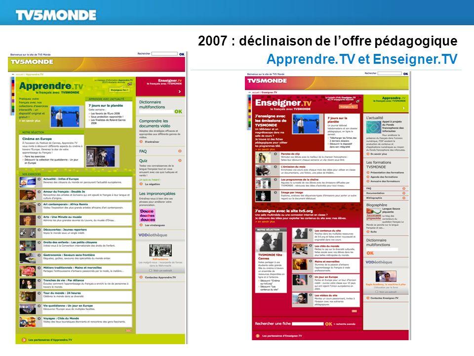 2007 : déclinaison de loffre pédagogique Apprendre.TV et Enseigner.TV