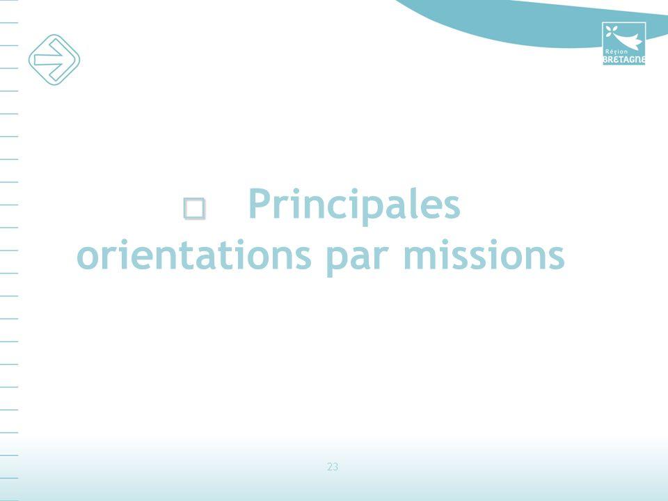 23 Principales orientations par missions