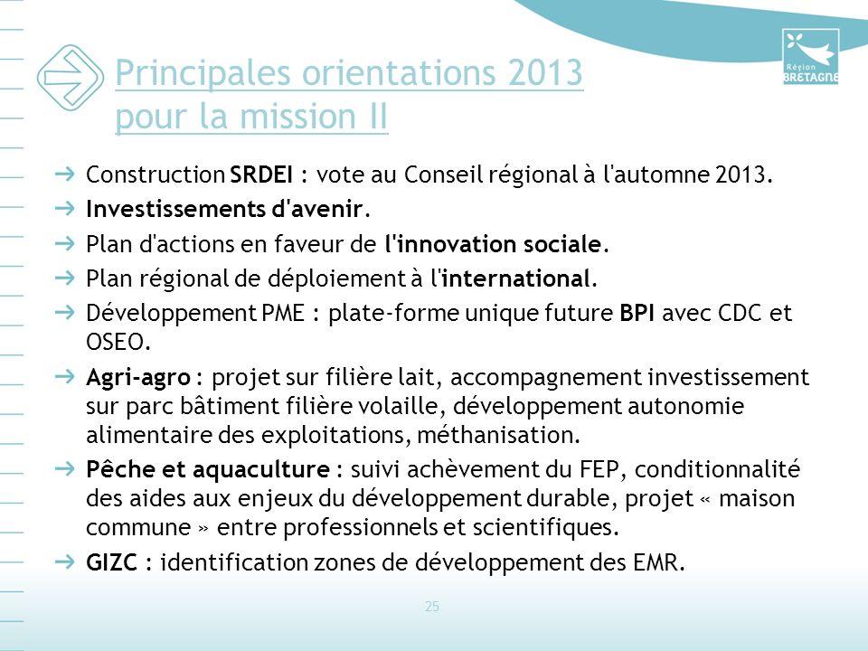 Principales orientations 2013 pour la mission II Construction SRDEI : vote au Conseil régional à l'automne 2013. Investissements d'avenir. Plan d'acti