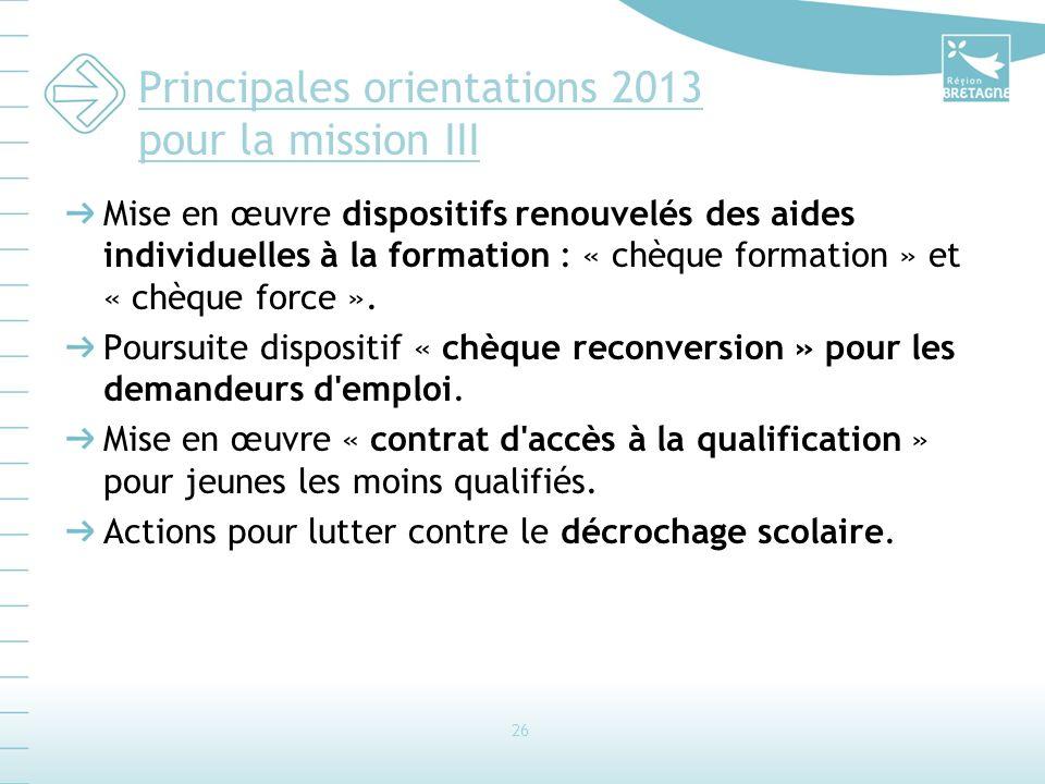 Principales orientations 2013 pour la mission III Mise en œuvre dispositifs renouvelés des aides individuelles à la formation : « chèque formation » et « chèque force ».