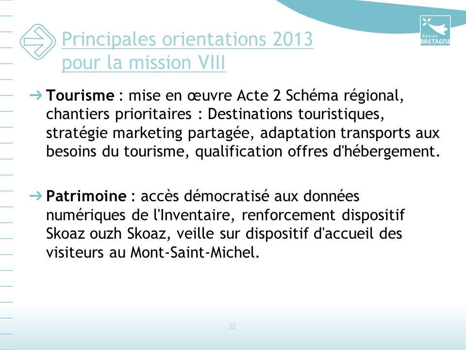 Principales orientations 2013 pour la mission VIII Tourisme : mise en œuvre Acte 2 Schéma régional, chantiers prioritaires : Destinations touristiques, stratégie marketing partagée, adaptation transports aux besoins du tourisme, qualification offres d hébergement.