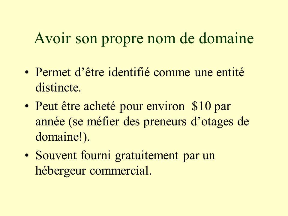 Avoir son propre nom de domaine Permet dêtre identifié comme une entité distincte.