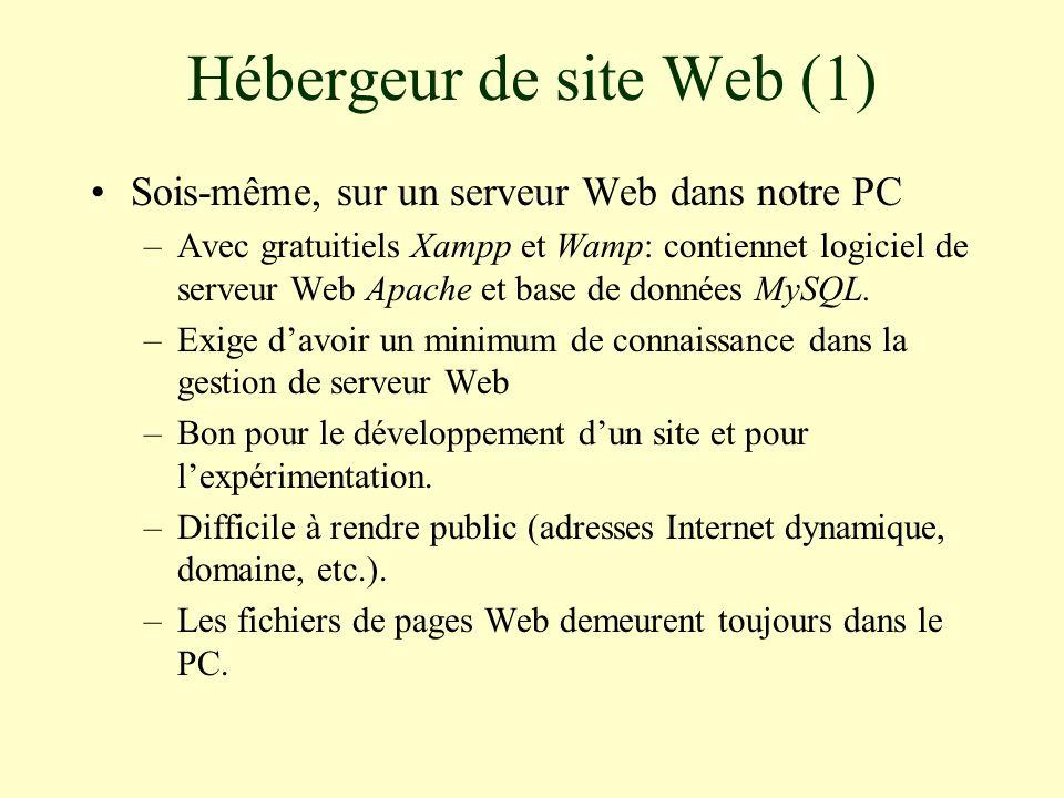 Hébergeur de site Web (2) Sur un serveur Web en dehors de la maison –Videotron et Bell offrent un espace de site Web gratuit pour leurs abonnés.