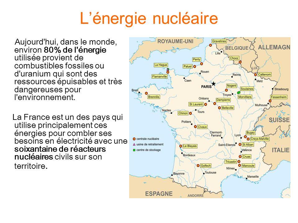 Lénergie nucléaire Aujourd hui, dans le monde, environ 80% de l énergie utilisée provient de combustibles fossiles ou d uranium qui sont des ressources épuisables et très dangereuses pour l environnement.