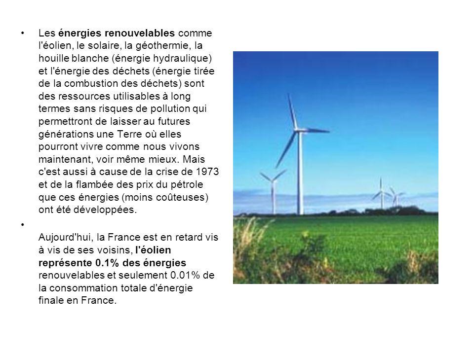 Les énergies renouvelables comme l'éolien, le solaire, la géothermie, la houille blanche (énergie hydraulique) et l'énergie des déchets (énergie tirée