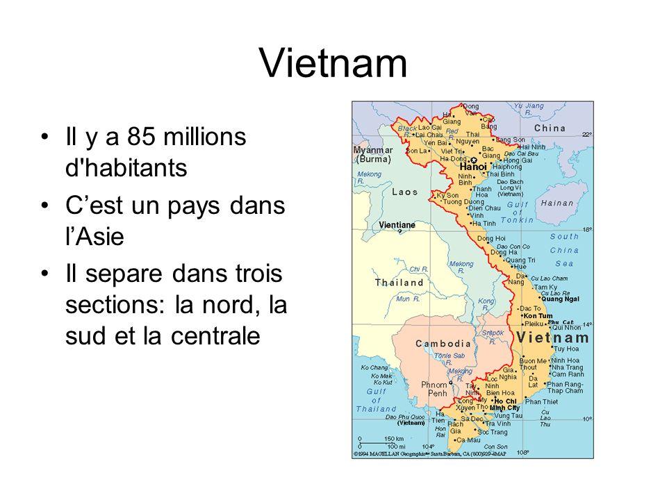 Vietnam Il y a 85 millions d habitants Cest un pays dans lAsie Il separe dans trois sections: la nord, la sud et la centrale