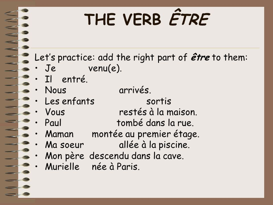 Lets practice! Click on the picture to practice the verb être.