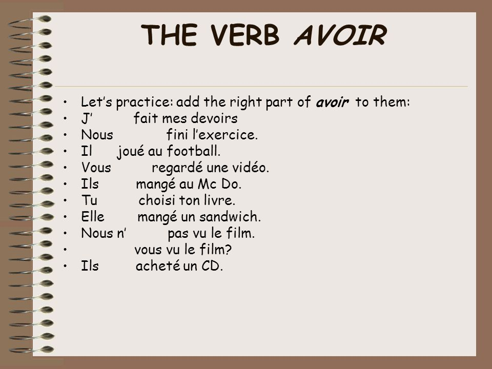 Lets practice: Click on the picture to practice the verb avoir