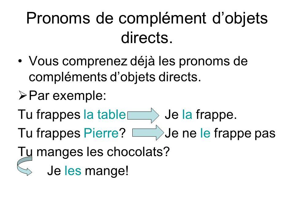 Pronoms de complément dobjets directs. Vous comprenez déjà les pronoms de compléments dobjets directs. Par exemple: Tu frappes la tableJe la frappe. T