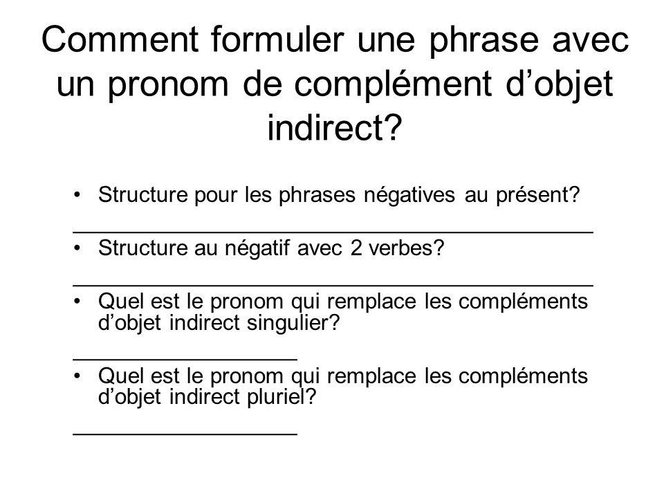 Comment formuler une phrase avec un pronom de complément dobjet indirect? Structure pour les phrases négatives au présent? ___________________________