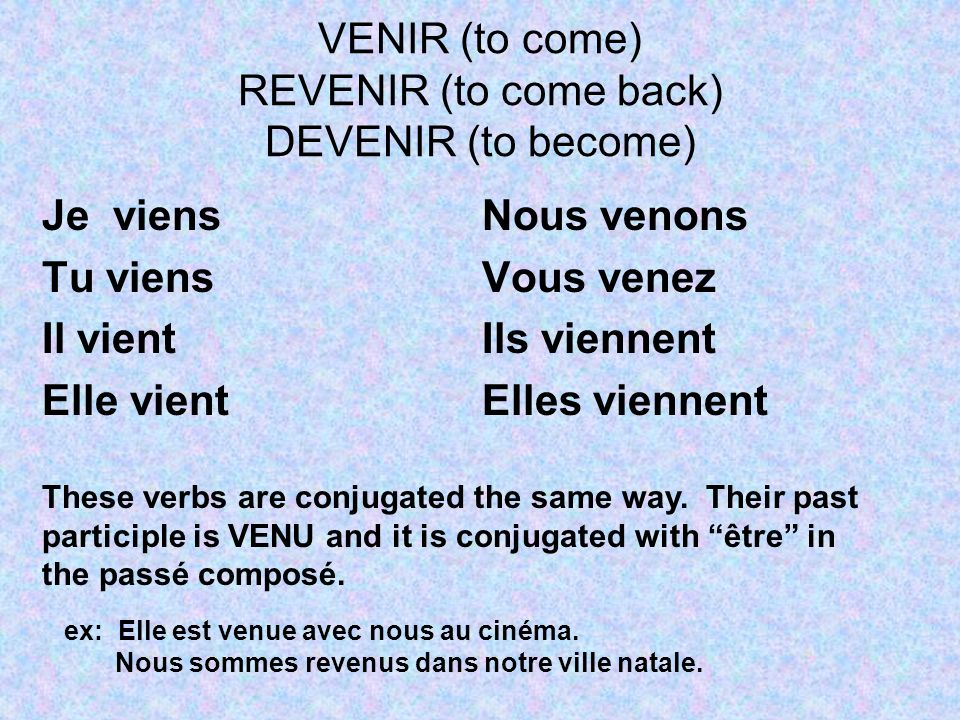 VENIR (to come) REVENIR (to come back) DEVENIR (to become) Je viens Tu viens Il vient Elle vient Nous venons Vous venez Ils viennent Elles viennent These verbs are conjugated the same way.