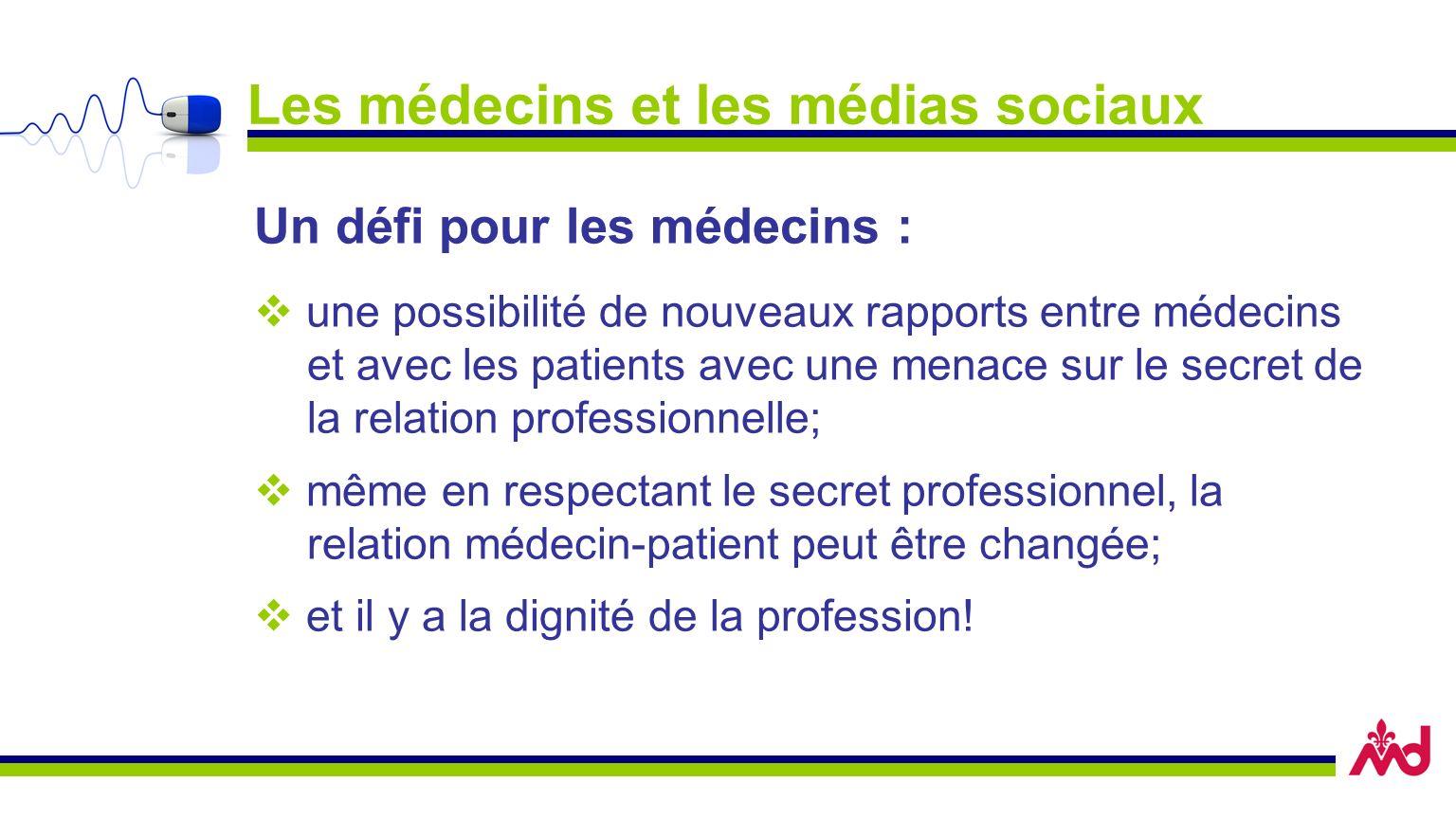 Les médecins et les médias sociaux Un défi pour les médecins : une possibilité de nouveaux rapports entre médecins et avec les patients avec une menace sur le secret de la relation professionnelle; même en respectant le secret professionnel, la relation médecin-patient peut être changée; et il y a la dignité de la profession!