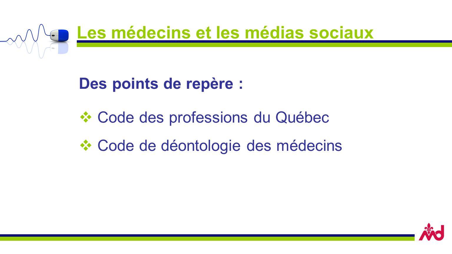 Les médecins et les médias sociaux Des points de repère : Code des professions du Québec Code de déontologie des médecins