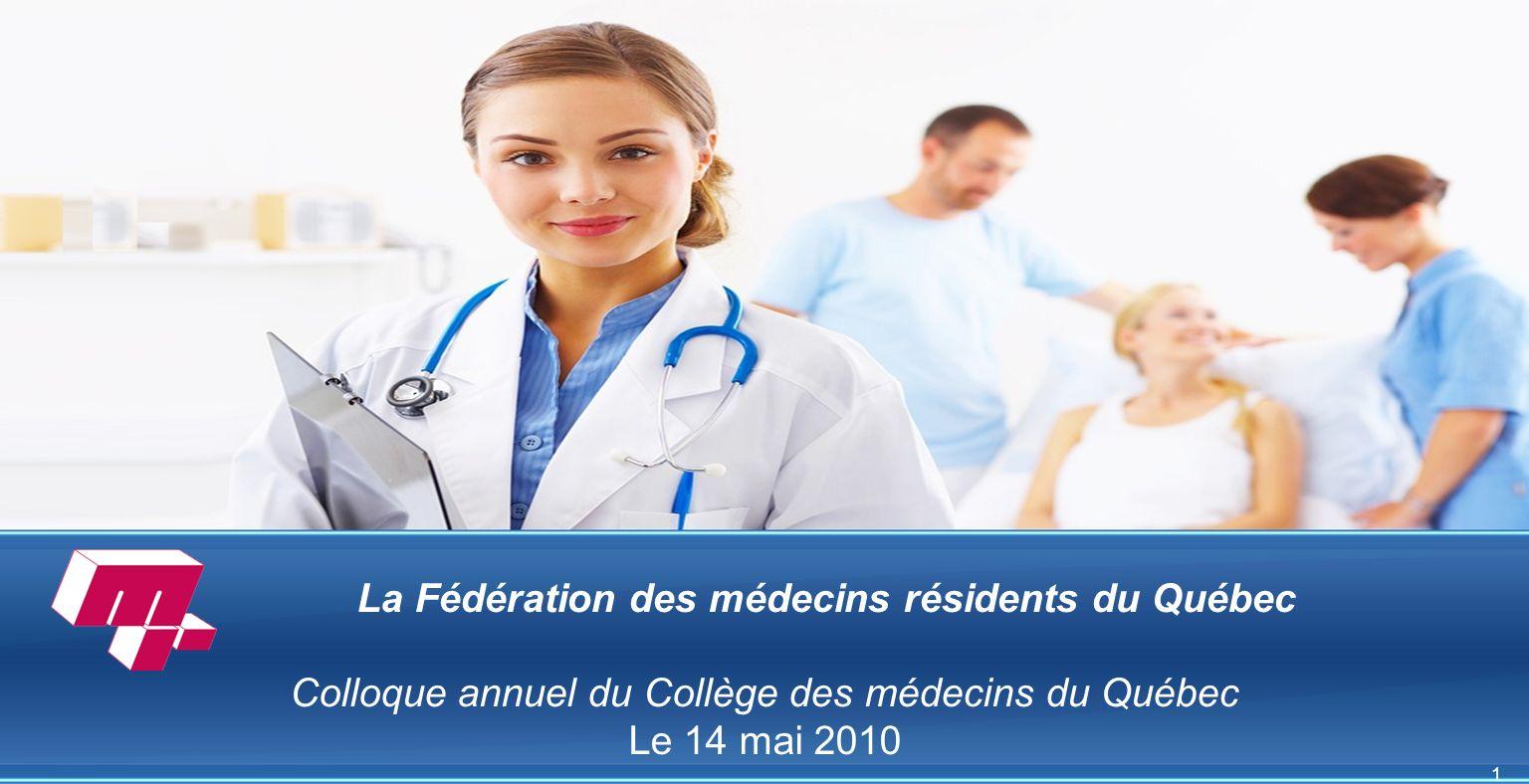 1 La Fédération des médecins résidents du Québec Colloque annuel du Collège des médecins du Québec Le 14 mai 2010