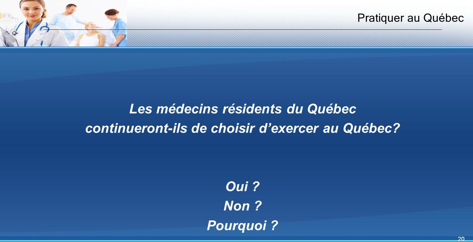 20 Pratiquer au Québec Les médecins résidents du Québec continueront-ils de choisir dexercer au Québec.