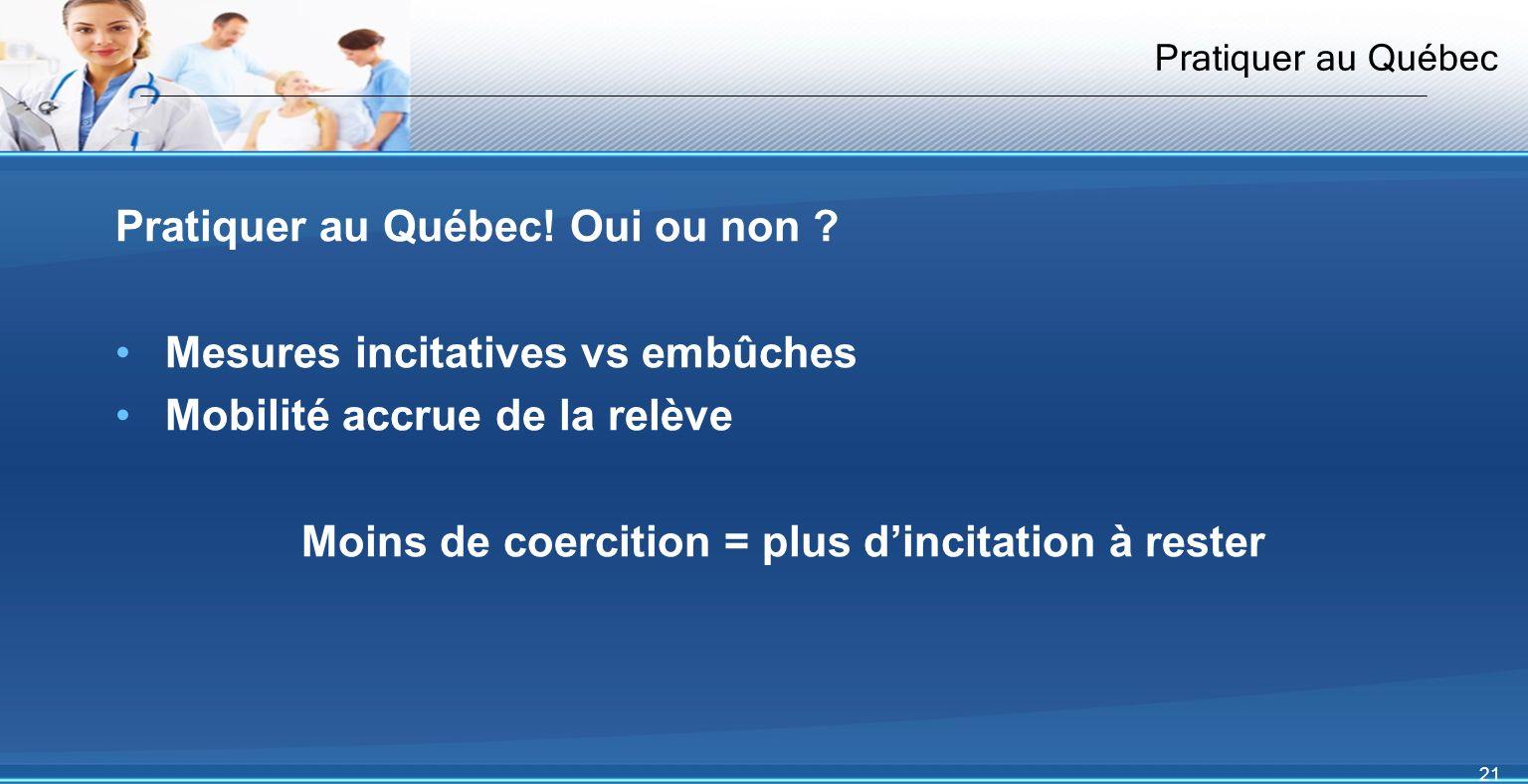 21 Pratiquer au Québec Pratiquer au Québec. Oui ou non .