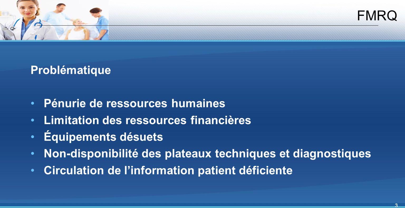 3 FMRQ Problématique Pénurie de ressources humaines Limitation des ressources financières Équipements désuets Non-disponibilité des plateaux techniques et diagnostiques Circulation de linformation patient déficiente