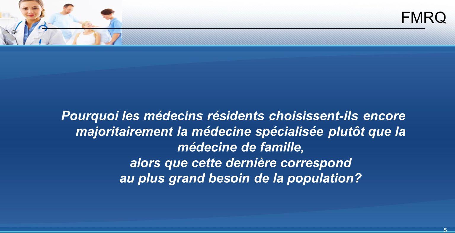 5 FMRQ Pourquoi les médecins résidents choisissent-ils encore majoritairement la médecine spécialisée plutôt que la médecine de famille, alors que cette dernière correspond au plus grand besoin de la population