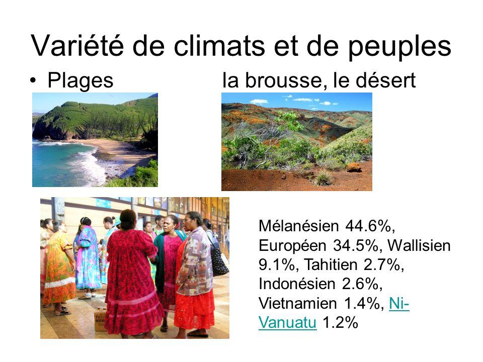 Variété de climats et de peuples Plagesla brousse, le désert Mélanésien 44.6%, Européen 34.5%, Wallisien 9.1%, Tahitien 2.7%, Indonésien 2.6%, Vietnam