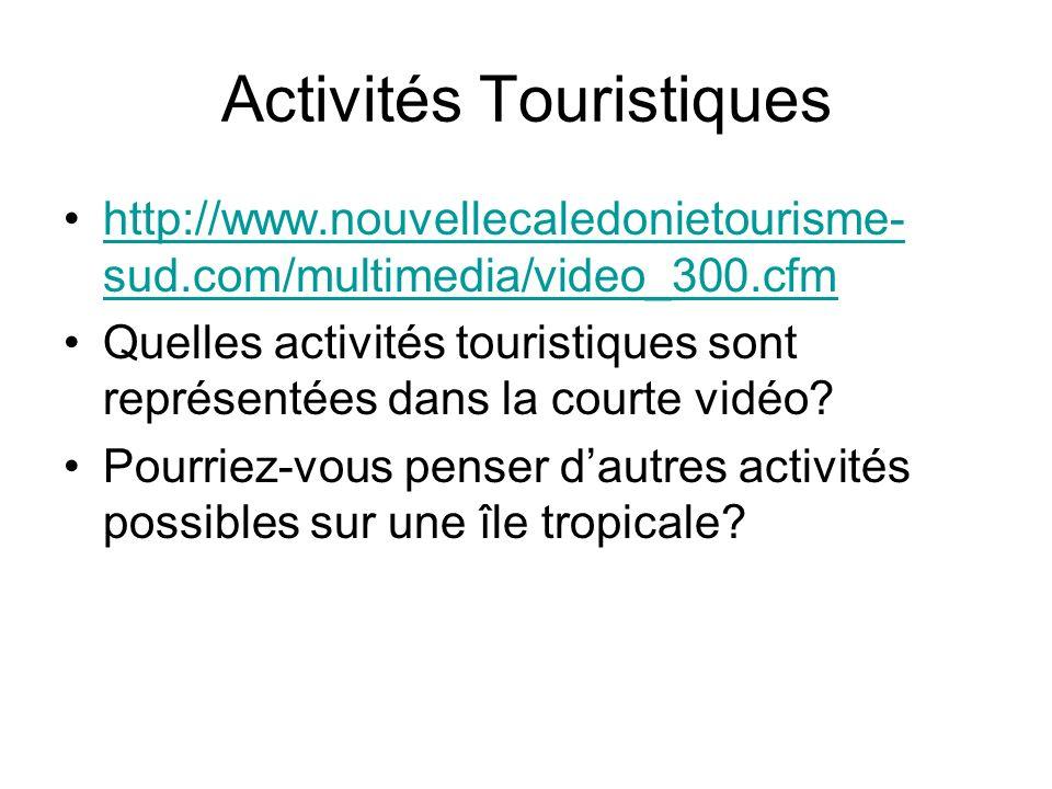 Activités Touristiques http://www.nouvellecaledonietourisme- sud.com/multimedia/video_300.cfmhttp://www.nouvellecaledonietourisme- sud.com/multimedia/