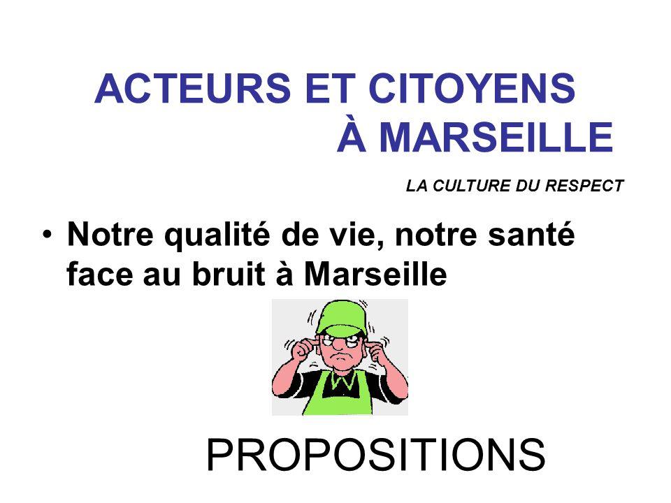 Notre qualité de vie, notre santé face au bruit à Marseille ACTEURS ET CITOYENS À MARSEILLE LA CULTURE DU RESPECT PROPOSITIONS