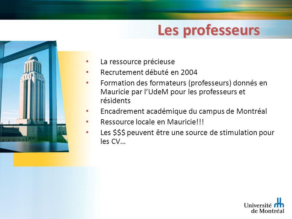 Les professeurs La ressource précieuse Recrutement débuté en 2004 Formation des formateurs (professeurs) donnés en Mauricie par lUdeM pour les profess