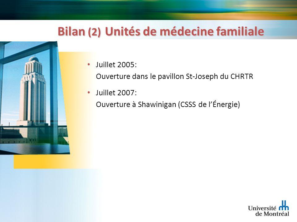 Bilan (2) Unités de médecine familiale Juillet 2005: Ouverture dans le pavillon St-Joseph du CHRTR Juillet 2007: Ouverture à Shawinigan (CSSS de lÉner