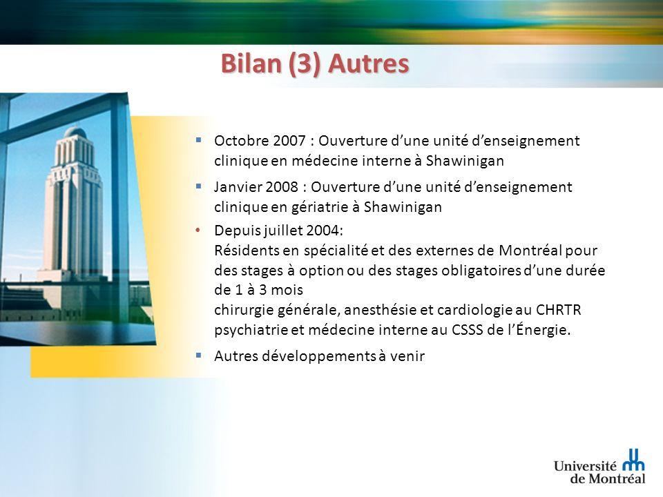 Bilan (3) Autres Octobre 2007 : Ouverture dune unité denseignement clinique en médecine interne à Shawinigan Janvier 2008 : Ouverture dune unité dense