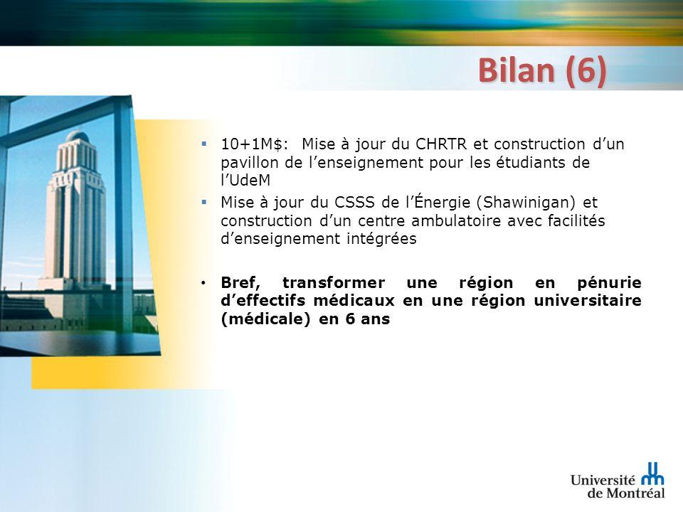 Bilan (6) 10+1M$: Mise à jour du CHRTR et construction dun pavillon de lenseignement pour les étudiants de lUdeM Mise à jour du CSSS de lÉnergie (Shaw