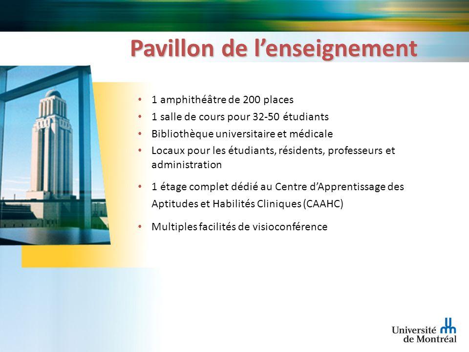 Pavillon de lenseignement 1 amphithéâtre de 200 places 1 salle de cours pour 32-50 étudiants Bibliothèque universitaire et médicale Locaux pour les ét