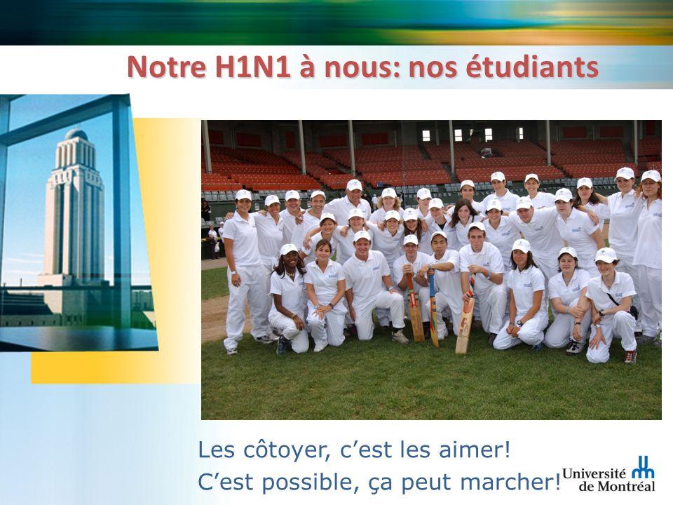 Notre H1N1 à nous: nos étudiants Les côtoyer, cest les aimer! Cest possible, ça peut marcher!