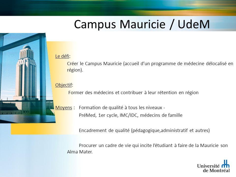 Campus Mauricie / UdeM Le défi: Créer le Campus Mauricie (accueil dun programme de médecine délocalisé en région). Objectif: Former des médecins et co