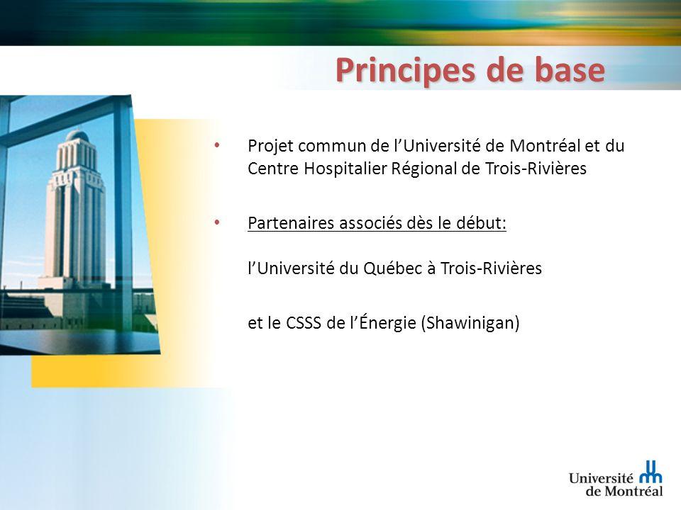 Principes de base Projet commun de lUniversité de Montréal et du Centre Hospitalier Régional de Trois-Rivières Partenaires associés dès le début: lUni