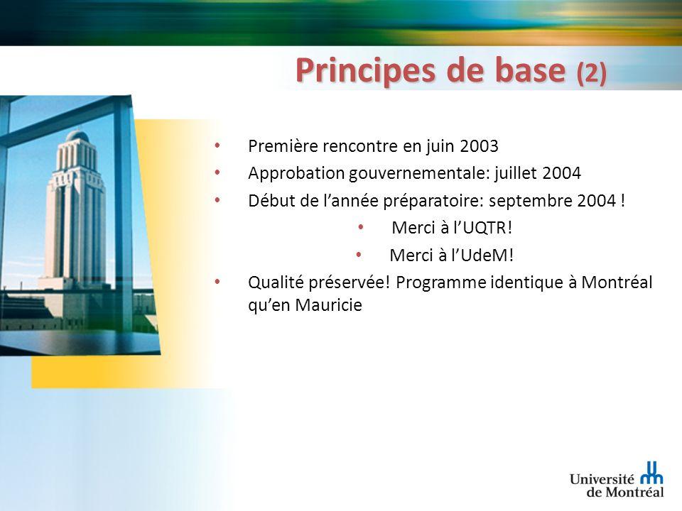 Principes de base (2) Première rencontre en juin 2003 Approbation gouvernementale: juillet 2004 Début de lannée préparatoire: septembre 2004 ! Merci à