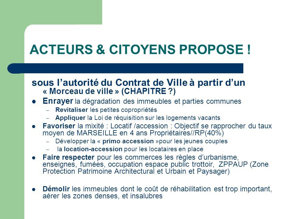 ACTEURS & CITOYENS PROPOSE ! sous lautorité du Contrat de Ville à partir dun « Morceau de ville » (CHAPITRE ?) Enrayer la dégradation des immeubles et
