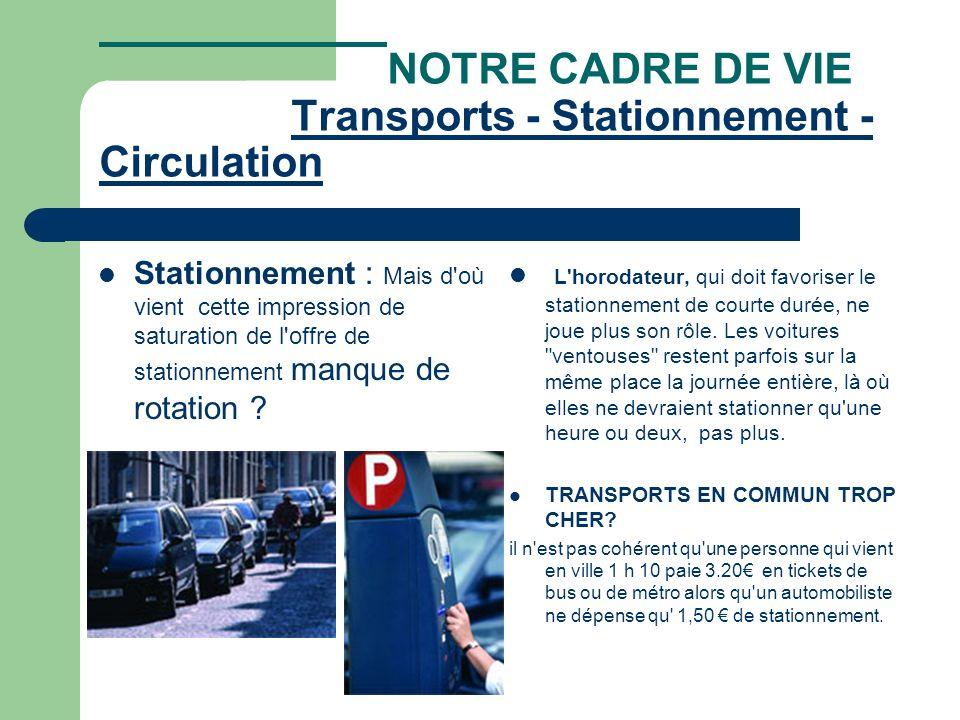 NOTRE CADRE DE VIE Transports - Stationnement - Circulation Transports - Stationnement - Circulation Stationnement : Mais d où vient cette impression de saturation de l offre de stationnement manque de rotation .