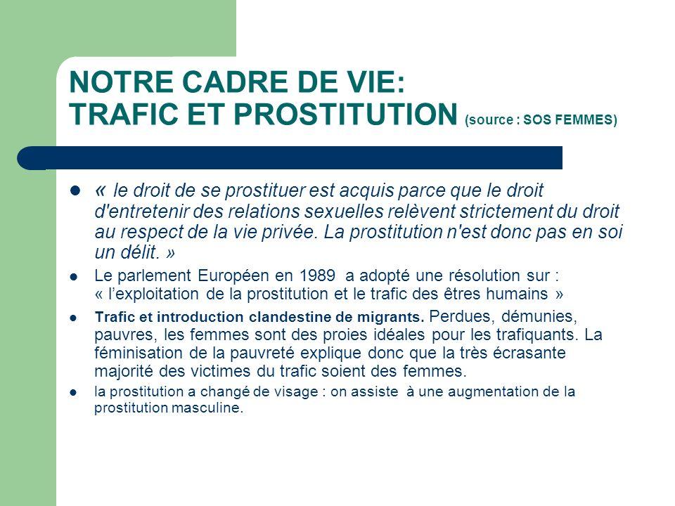 NOTRE CADRE DE VIE: TRAFIC ET PROSTITUTION (source : SOS FEMMES) « le droit de se prostituer est acquis parce que le droit d entretenir des relations sexuelles relèvent strictement du droit au respect de la vie privée.