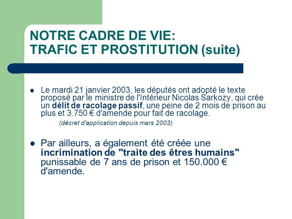 NOTRE CADRE DE VIE: TRAFIC ET PROSTITUTION (suite) Le mardi 21 janvier 2003, les députés ont adopté le texte proposé par le ministre de l Intérieur Nicolas Sarkozy, qui crée un délit de racolage passif, une peine de 2 mois de prison au plus et 3.750 d amende pour fait de racolage.