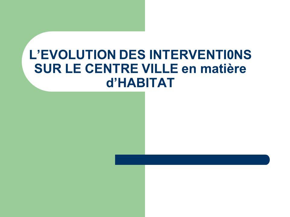 LEVOLUTION DES INTERVENTI0NS SUR LE CENTRE VILLE en matière dHABITAT