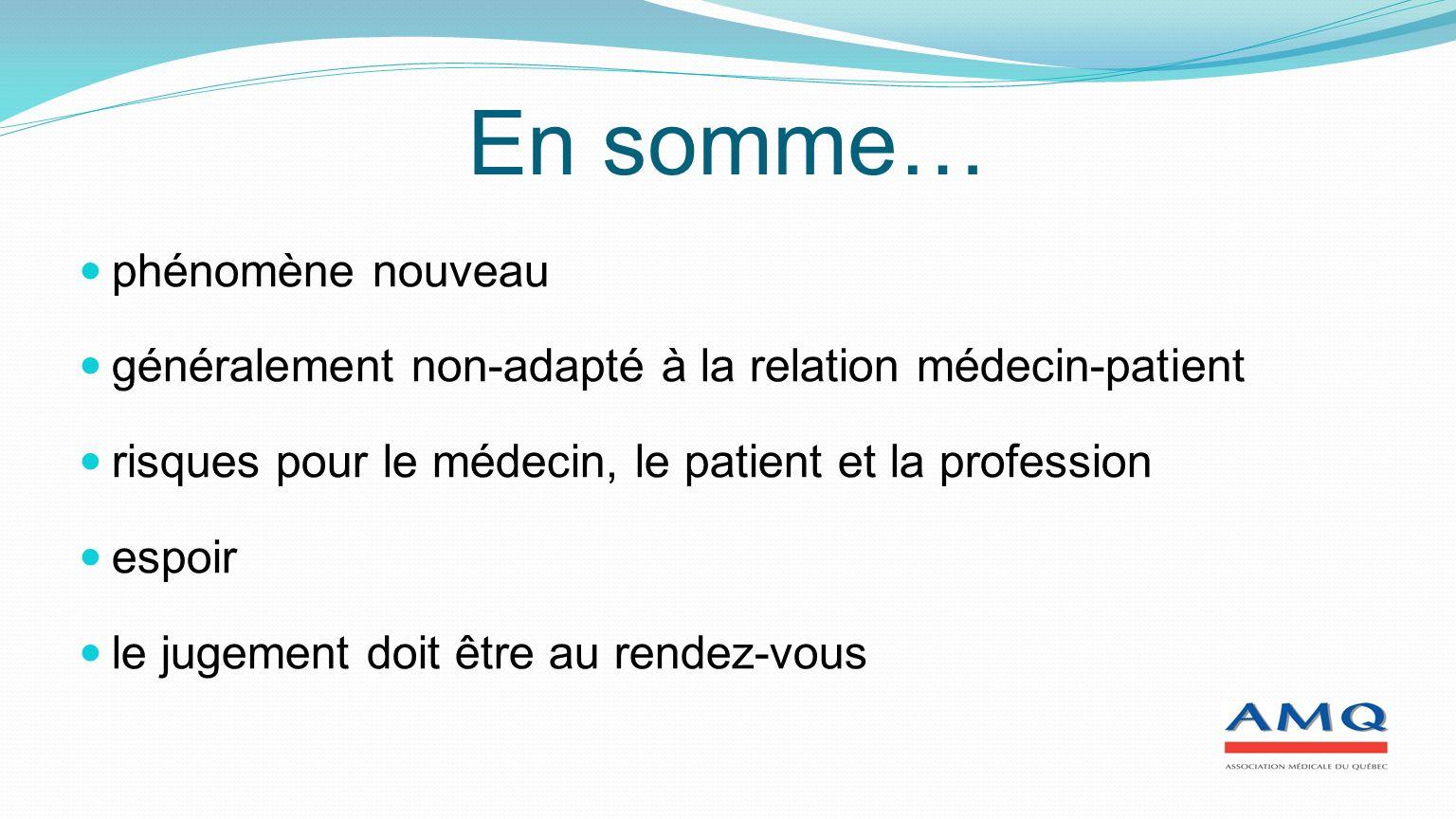 En somme… phénomène nouveau généralement non-adapté à la relation médecin-patient risques pour le médecin, le patient et la profession espoir le jugement doit être au rendez-vous