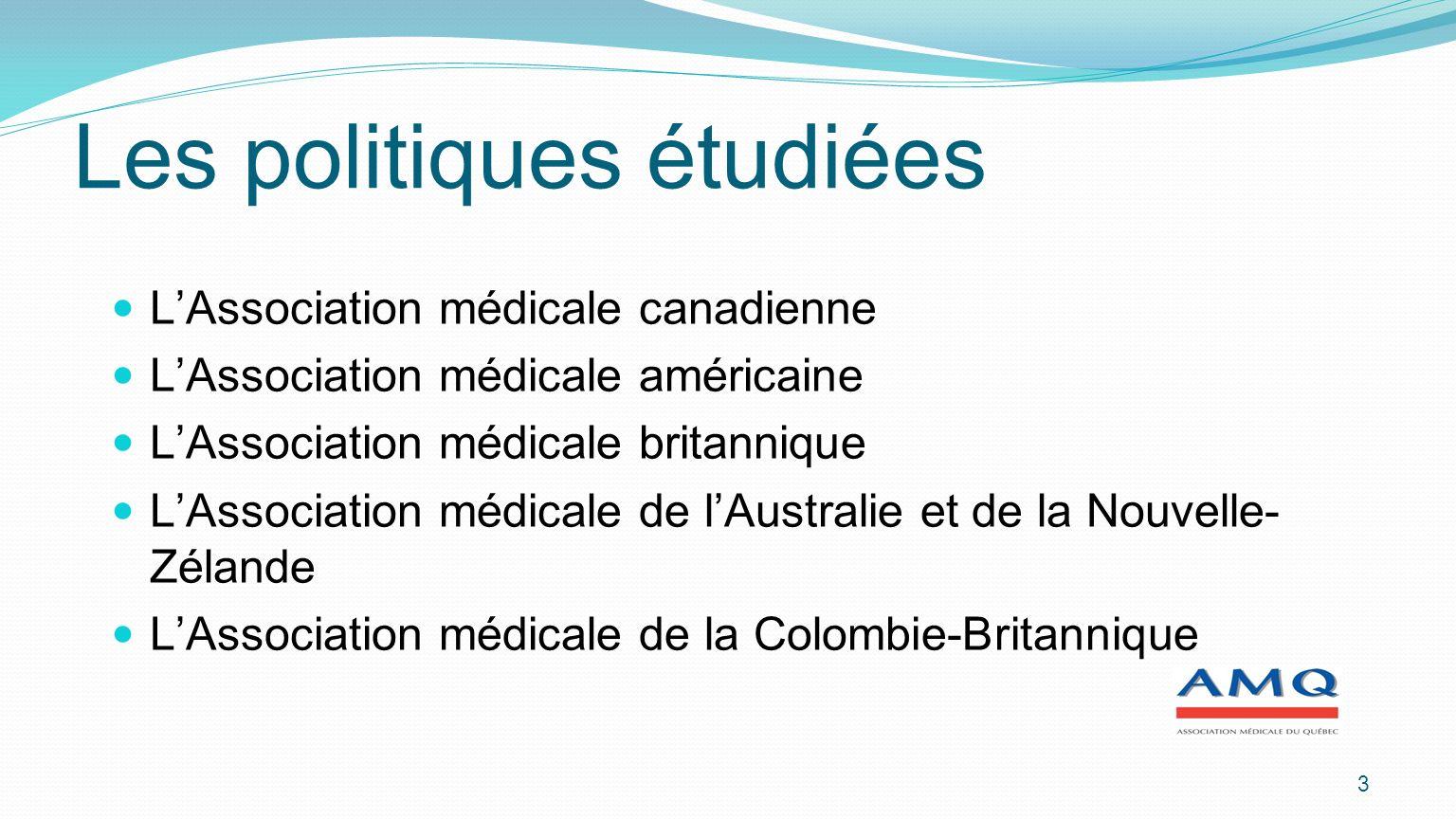 3 Les politiques étudiées LAssociation médicale canadienne LAssociation médicale américaine LAssociation médicale britannique LAssociation médicale de lAustralie et de la Nouvelle- Zélande LAssociation médicale de la Colombie-Britannique