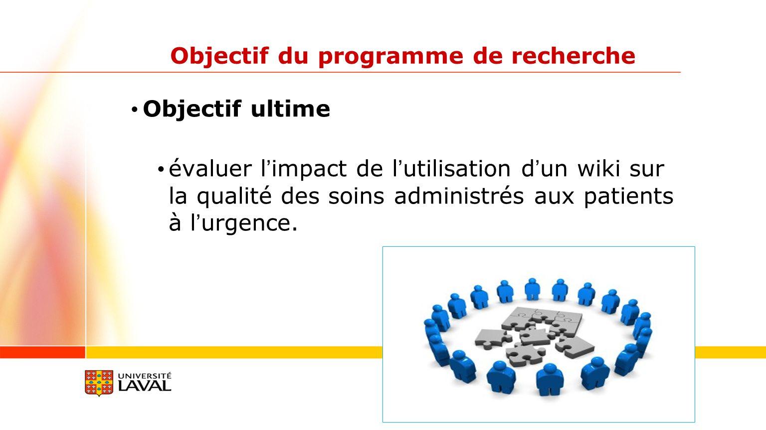 Objectif du programme de recherche Objectif ultime évaluer limpact de lutilisation dun wiki sur la qualité des soins administrés aux patients à lurgen