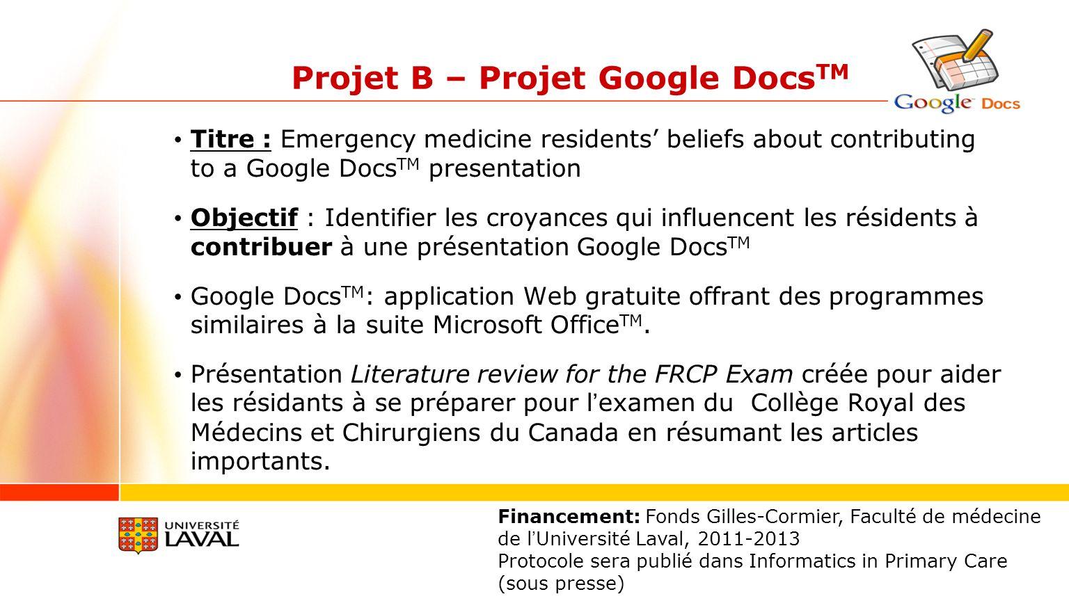Projet B – Projet Google Docs TM Titre : Emergency medicine residents beliefs about contributing to a Google Docs TM presentation Objectif : Identifie