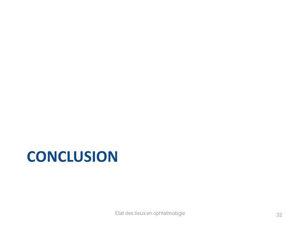 CONCLUSION Etat des lieux en ophtalmologie 32